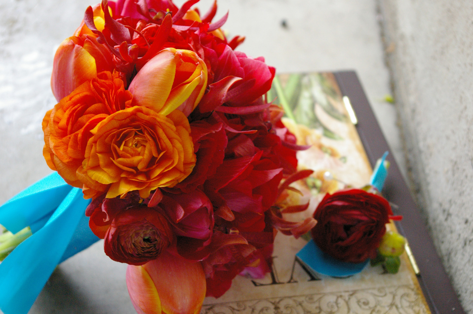 orange flowers bouquet. ranunculus ouquet tulups