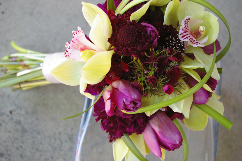 fiddlers green poem. green cymbidium orchid bouquet