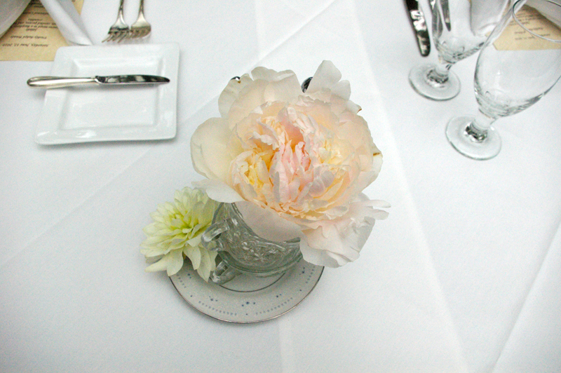 tea cup alice in wonderland wedding centerpiece peony utah wedding flowers
