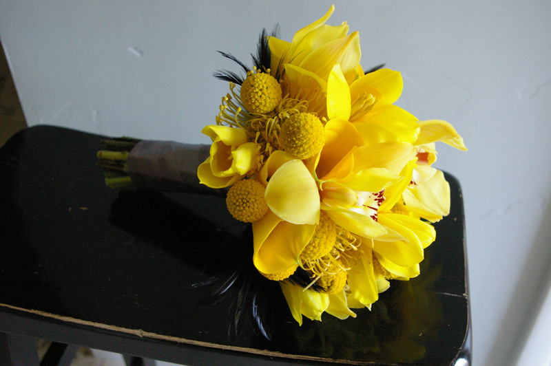 yellow black bridal bouquet utah wedding flowers studio stems
