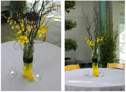 Yellow black gray branch centerpiece calla lily oncidium orchid pin