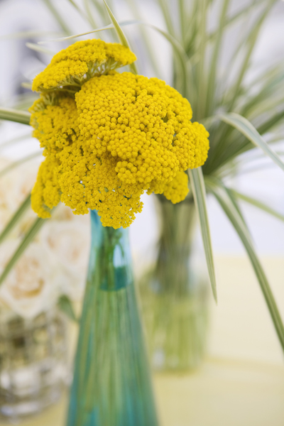 yellow blue yarrow centerpiece yacht wedding newport california flowers