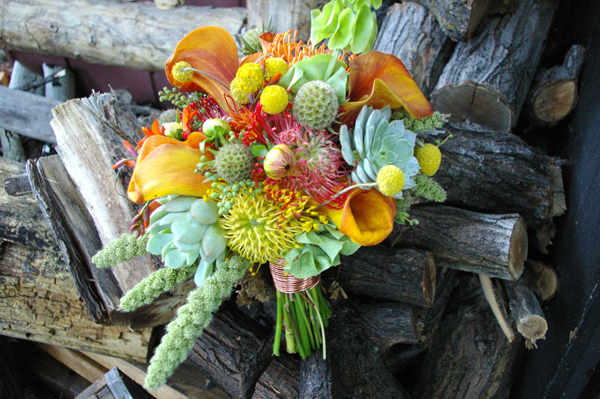 textured bridal bouquet orange yellow red green succulent studio stems