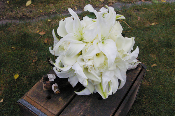 white casablanca lily bridal bouquet