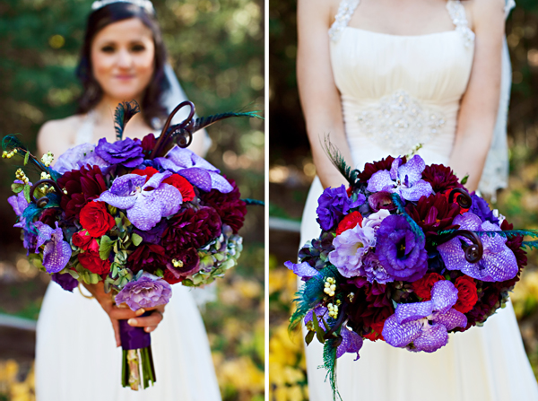 peacock feather bridal bouquet red purple green lavendar flowers studio