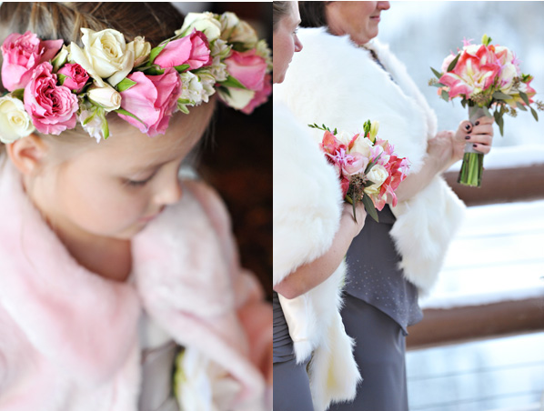 flower girl halo white pink bridesmaids bouquets winter wedding
