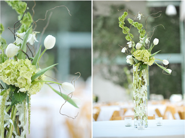 We created 3 different centerpieces for Dani this one was a classic tall