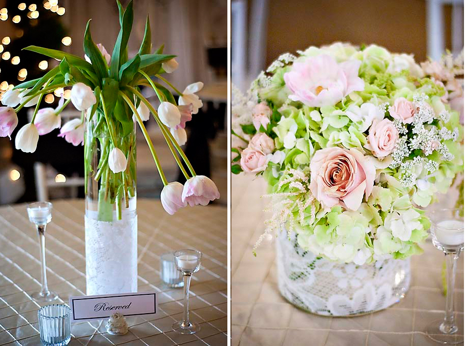Pink green tulip lace hydrangea wedding centerpiece studio