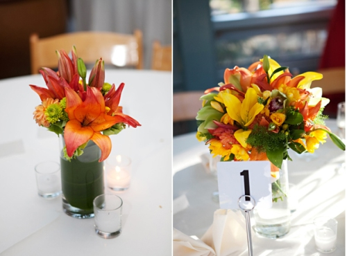 Bridal Centerpieces Fresh Yellow and Orange Flowers for your special day. This package features an assortment of flowers that display contrasting yellows, reds and oranges. Upon arrival, simply cut the ends of the stems and place the beautiful flower arrangement in a vase.